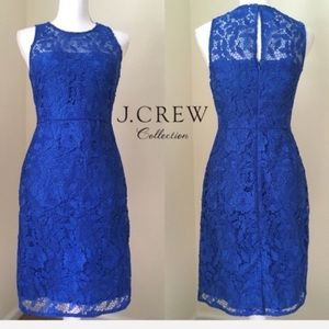 J. Crew Collection Blue Lace Sheath Dress, 2 NWT